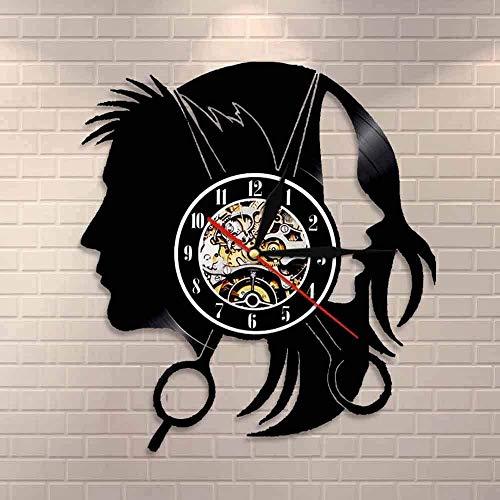 YDDLIE Logotipo de la Empresa para peluquería Reloj de Pared peluquería Elegante Corte de Pelo Tijeras Corte de Pelo Reloj de Pared de Vinilo