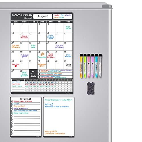 ALEZEL Magnetic Dry Erase Calendar for Fridge - 13'x17', Monthly Fridge Calendar Whiteboard Set - Vertical Magnetic Calendar for Refrigerator, Blank & to Do List White Board, 6 Markers + Eraser