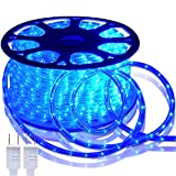 Blue LED Lights, 150ft Rope Lights ,Waterproof Flexible 110V Rope Lighting Cuttable Connectable,High Brightness Blue Strip Lighting Weatherproof for Indoor Outdoor Use Decoration with UL Certified