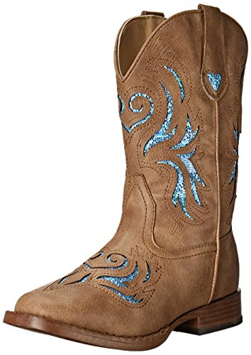 ROPER Girls Glitter Breeze Western Boot, Tan, 1 Little Kid