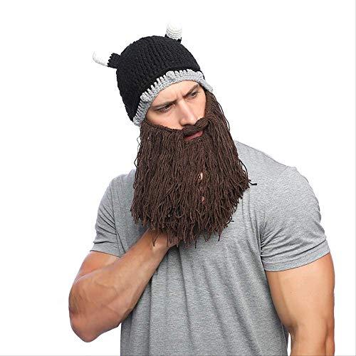 Gorro de pelucaDamas y hombresModa,Todo en uno,Unisex adulto divertido loco peluca barba larga hecho a mano brbaro invierno Cosplay disfraz de Halloween sombrero