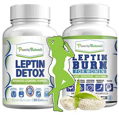 Leptin Detox + Leptin Burn Combo - Vegan - Leptin Supplements for Weight Loss for Women - Leptin Resistance Supplements - All Natural Safe and Effective - Non-GMO - 1 Month