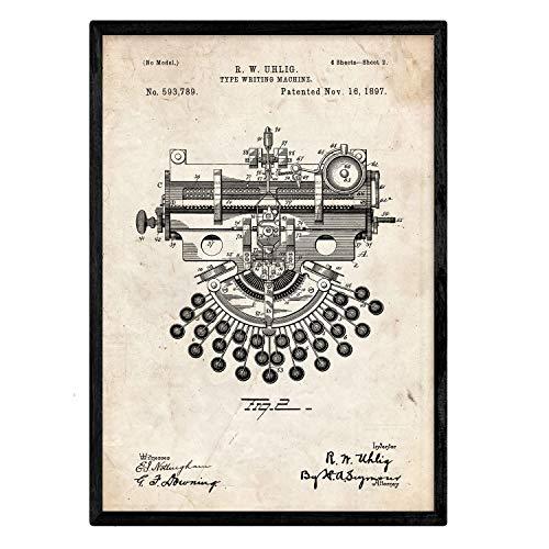 Nacnic Poster Macchina da Scrivere di Brevetto 4. Foil con Il Vecchio Brevetto di Disegno in Formato A3 e Vintage Sfondo