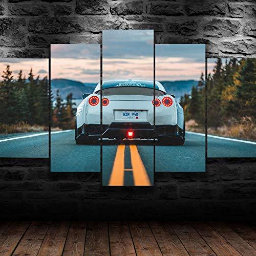 45Tdfc 5 Piezas Cuadro de Lienzo - White Nissa GTR Luxury Sports Car Sunset Pintura 5 Impresiones de imágenes Decoración de Pared para el hogar Pinturas y Carteles de Arte HD 200cmx100cm Sin Marco