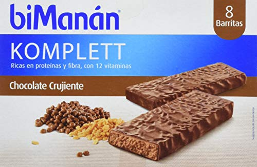 Binamán Sustitutive Barritas Crujientes Chocolate Komplett - 8 Barritas de 35 g