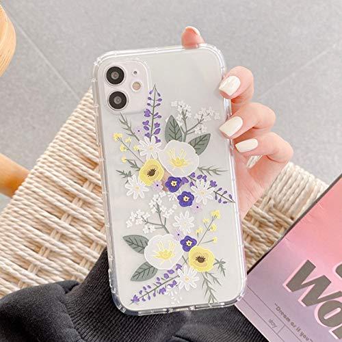 WEIYYY Funda de teléfono para iPhone 12 Mini 12 Pro 11 Pro X XR XS MAX 7 8 Plus Funda de teléfono de TPU Suave Transparente Floral con Relieve en 3D de Moda, 2, para iPhone 12 Mini