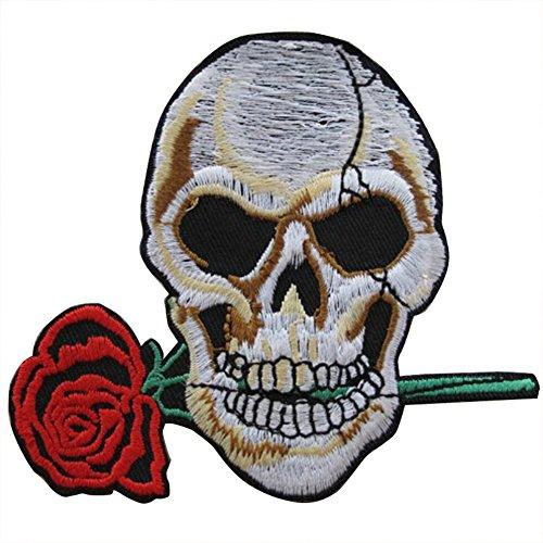 Wimagic - 1 Parche de Calavera de Flor de Estilo Punk para Bordar, Ideal para...
