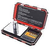 Criacr Báscula de Cocina, 200 g / 0,01 g, Peso de calibración 50 g, báscula de precisión 0,01 g, báscula de Bolsillo con Pantalla LCD, báscula electrónica con función de Tara, Acero Inoxidable (Rojo)