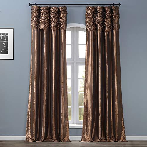 HPD Half Price Drapes PTCH-27-96-RU Ruched Faux Solid Taffeta Curtain (1 Panel), 50 X 96, Mushroom