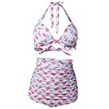 CosPrincely Mujer Traje de Baño Bikini Conjunto Nadando Retro Cintura Alta Vintage Push Up Floral Impresión Set
