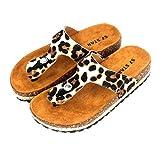 Sandalias de Dedo para Verano Planas, Playa, Piscina o Casa, Modelo Leopardo Talón Abierto para Mujer, Suela Antideslizante, Tacón 3,5cm (41, 1006 Beige)
