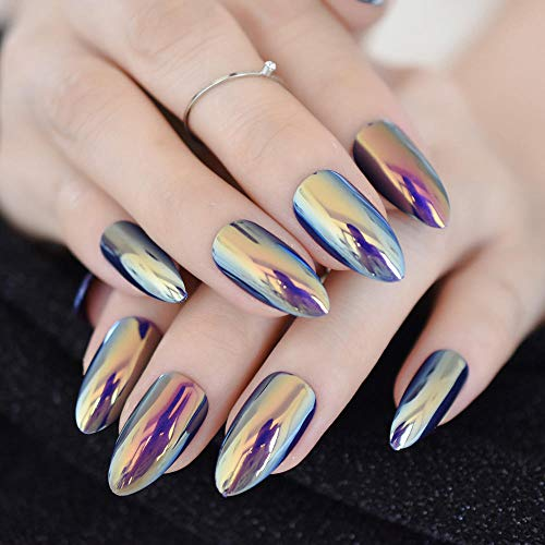 CLOAAE Quality Unicorn Chrome False Nails Lovely Mirror Yellow Blue Full Fake Nail Case With 24 Ct Adhesive