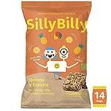SillyBilly - Barritas BIO - Pack de 14 bolsitas - Quinoa, Espelta, Mango, Piña, Naranja y Almendras - Cuadritos horneados…