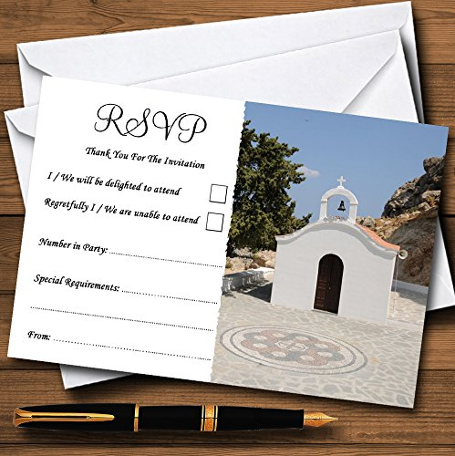 St Pauls Lindos Rhodos in het buitenland gepersonaliseerde RSVP kaarten 20 RSVP Cards