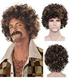 Menoqi Men's Curly Wigs California Heat Resistant Wigs Synthetic Hair Wigs Natural Looking Wigs with...