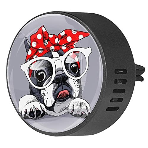 Difusor de aromaterapia para coche,Perro con gafas y pañuelo. ,Clip de ventilación de desodorante de área redonda 2PCS Aceite esencial para difusor de automóvil