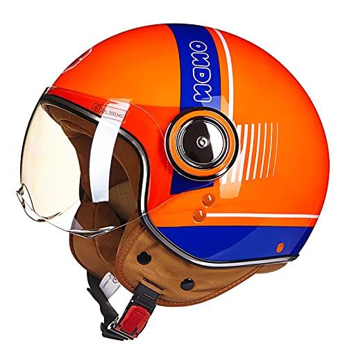Helmets Casco para Moto | Jet Casco Sprint |con Gafas de Piloto,para Moto Medio Casco Abierto Casco de Protección para Motocicleta Certificación ECE B,M=54~56cm