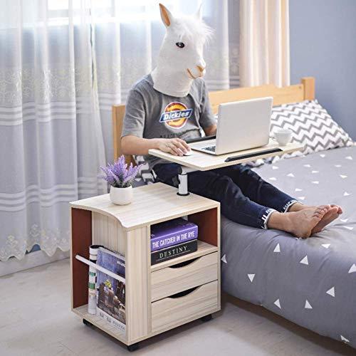 Computertisch mit Schubladen, Laptopständer verstellbar 60 * 40 cm Computertisch beweglich mit Rädern Tragbarer Beistelltisch für Bett Sofa Krankenhaus Lesung Essen