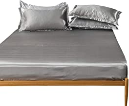 Luxurious Bottom Sheet to Fit Snugly Around Your Mattress,Ice Silk Solid Color Bed Sheets,Non-Slip Protective Cover,Hotel ...