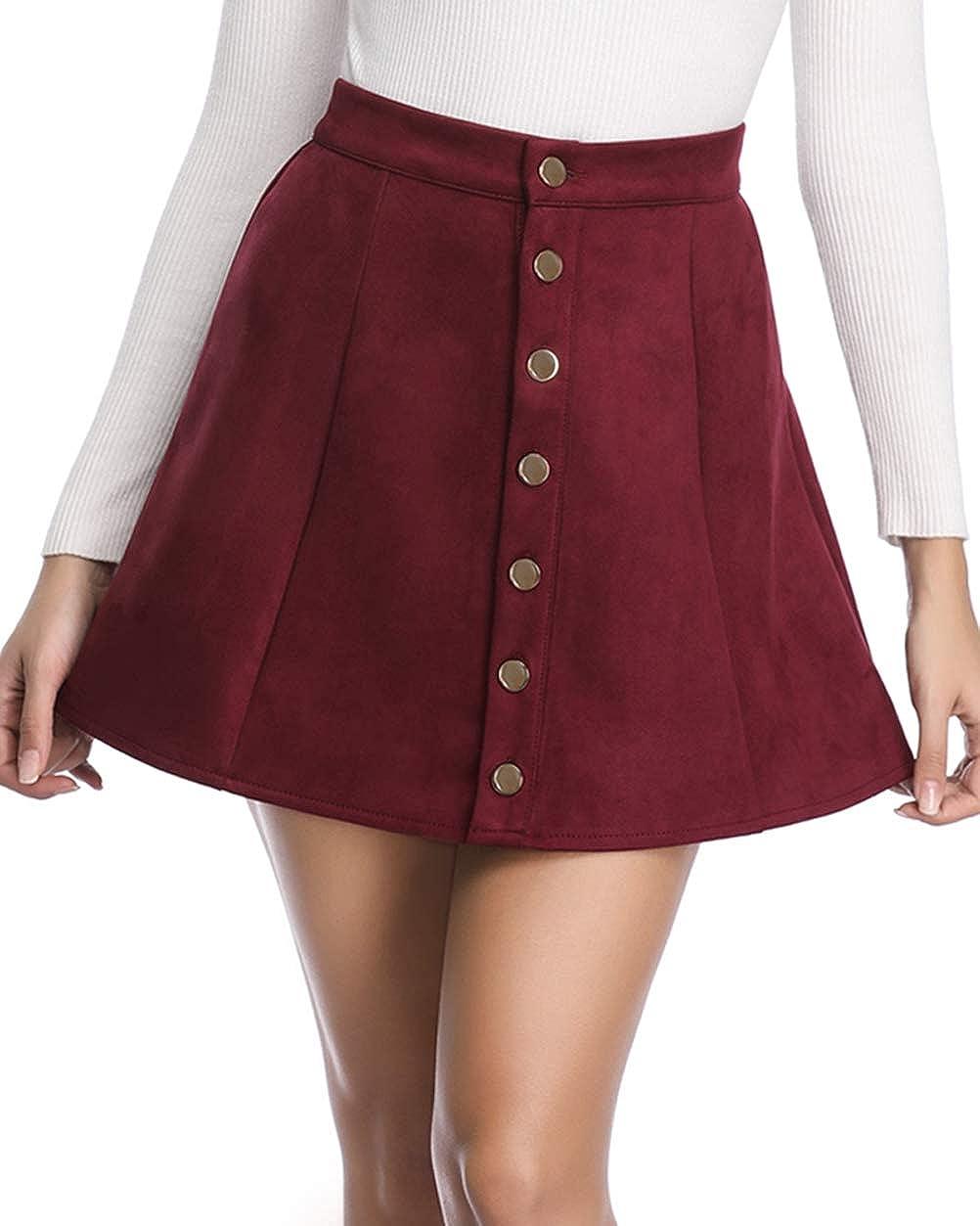 Fuinloth Women's Faux Suede Skirt Button Closure A-Line High Wasit Mini Short Skirt 2021