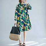FENSHIX De Gran tamaño Suelta de Fino Estilo Occidental de Mitad de Longitud de la Camisa Cardigan Impreso Valioso (Color : Green, Size : XXXL)