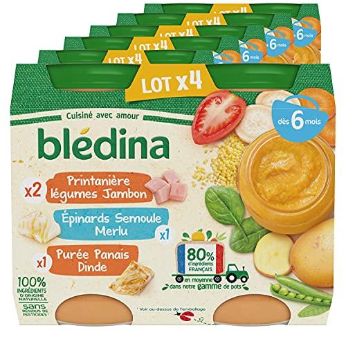 BLEDINA Petits Pots Bébé, Dès 6 Mois, Légumes Jambon, Epinard Semoule Merlu, Panais Dinde, 24x200g (Lot de 6*4)