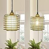 Depuley Lámpara colgante para mesa de comedor, lámpara de techo de cocina, moderna, lámpara de alambre dorado, casquillo E27, máx. 60 W, cocina, dormitorio o salón