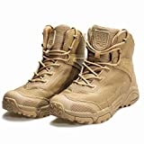 FREE SOLDIER Herren-Mid High-Schnürer Boots mit Army Combat Schuhe, Wanderstiefel, atmungsaktiv, Taktische, Wolfsbraun, 42 EU