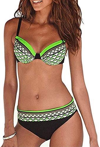 Tua Conjunto de Bikini Acolchado con Aros para Mujer Tribal Print Retro Sporty Bikini Push Up Swimsuit...