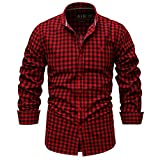 YOUQU Camisas Hombres Regular Fit Manga Larga Botones Cuello Vuelto Plaid Athletic Stretch Casual Algodón Tops, Wine, XL