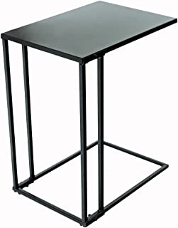 C-Hopetree C-Shaped Side End Coffee Table, Small Slide Under Coach Sofa Snack C Table for Living Room, Modern Industrial Black Metal Frame
