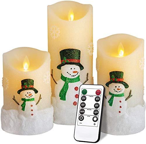 YMing Flackernde Flammenlose Kerzen, Realistisch LED Flammen, Echte Wachssäulenkerzen im Goldglas, Fernbedienung mit Timerfunktion, Größe 10 cm / 12,5 cm / 15 cm Hoch, 7,5 cm Durchmesser (Schneemann)