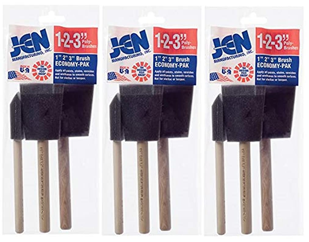 Three Pack Poly Foam Brush Bundle Pack, Set Includes 9 Assorted Sponge Brushes, 3-1
