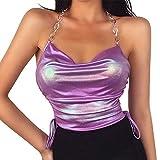 Olisenci Bozal sexy tipo cadena para mujer, parte superior de un solo color con espalda sin mangas, corsé push-up morado S