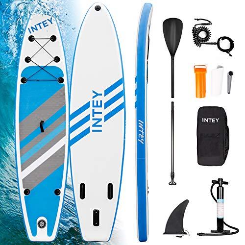INTEY Tabla Paddle Surf Hinchable 320×76×15cm, Sup Paddle Remo Ajustable, Tabla Stand Up Paddle Board, Bomba de Doble, Seguridad