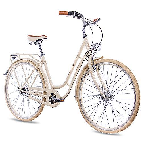 CHRISSON 28 Zoll Retro Citybike Damen - N Lady 7G Creme - Damen-City-Fahrrad mit Shimano Nexus 7 Gang Nabenschaltung im Retro Design, Vintage Damenfahrrad mit Rücktrittbremse und Gepäckträger