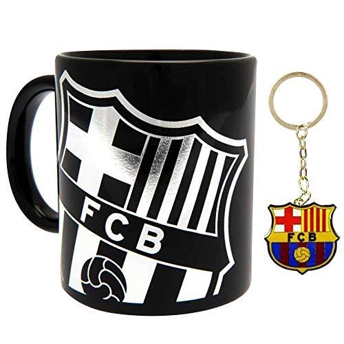 FCB - Juego de taza de cerámica y llavero con escudo del FC Barcelona (La Liga)