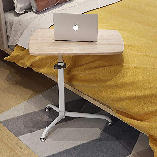 Carbon Steel Hospital Table with Light Oak Panel,Adjustable height, Lockable Casters,Small Laptop Table for All Kinds Of Laptops And Tablets Mobile Lap Table