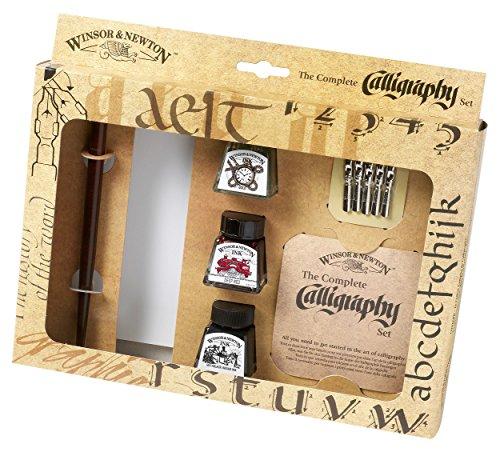 Winsor & Newton 1190190 Kalligraphie Set (3 Flaschen a 14 ml in schwarz, tiefrot und gold, 1 Dip Pen, 5 Kalligraphie-Spitzen, 1 Block A5 Cartridge Papier)