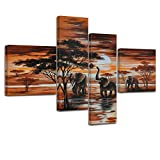 Bilderdepot24 Bastidor Imagen Elefantes M1-100x70cm 4 Partes - Enmarcado Listo P210