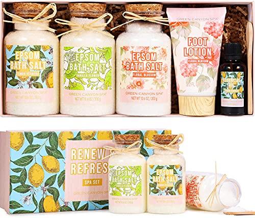 Bombas de Baño, Green Canyon Spa Set de Sales de Baño Relajantes y Espuma Sal de Epsom (3X300g) Aceite Esencial de Limón y Florales Loción Hidratante para los Remojo Pies Kits Bomba de Baño para Mujer