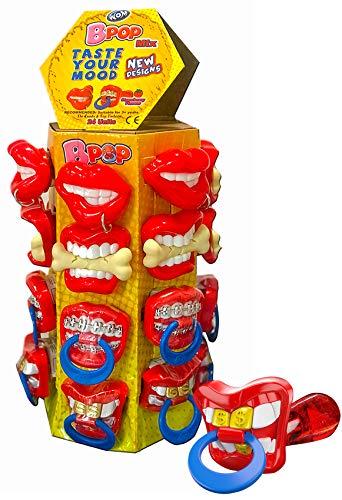 WOM Bpop Mix, Chupetes de Caramelo Sabor Fresa con Forma de Bocas Graciosas, Torre de 24 Chupetes de Caramelo con 4 Modelos de Bocas Diferentes, Chupetes de 15 Gramos de Caramelo Sabor de Fres