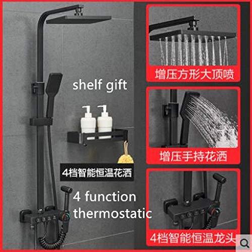 TLLZYBN Doucheset, constant matzwart doucheset met badbatterij badkuip douche-batterij set badkuip douche warm en koud waterkraan