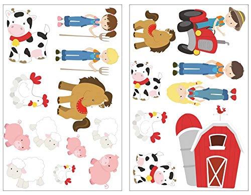 Samunshi® 20-teiliges Bauernhof Set Wandtattoo Schwein Trecker Pferd Kuh Kinderzimmer Babyzimmer in 5 Größen (2x16x26cm Mehrfarbig)