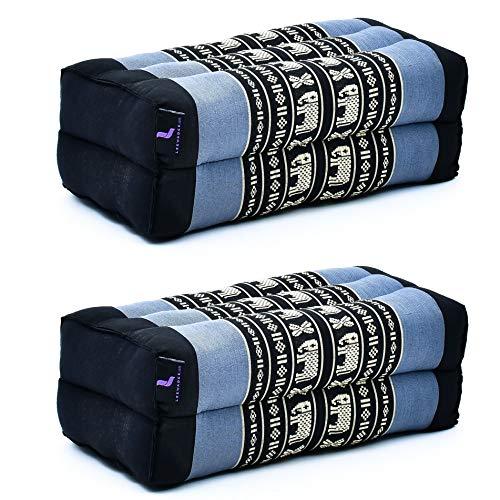 Leewadee Due Blocchi per Yoga: 2 Cuscini da Pilates rettangolari e Strumenti da Meditazione, 2 Cuscini da Terra in kapok Naturale, 35 x 18 x 12 cm, Blu