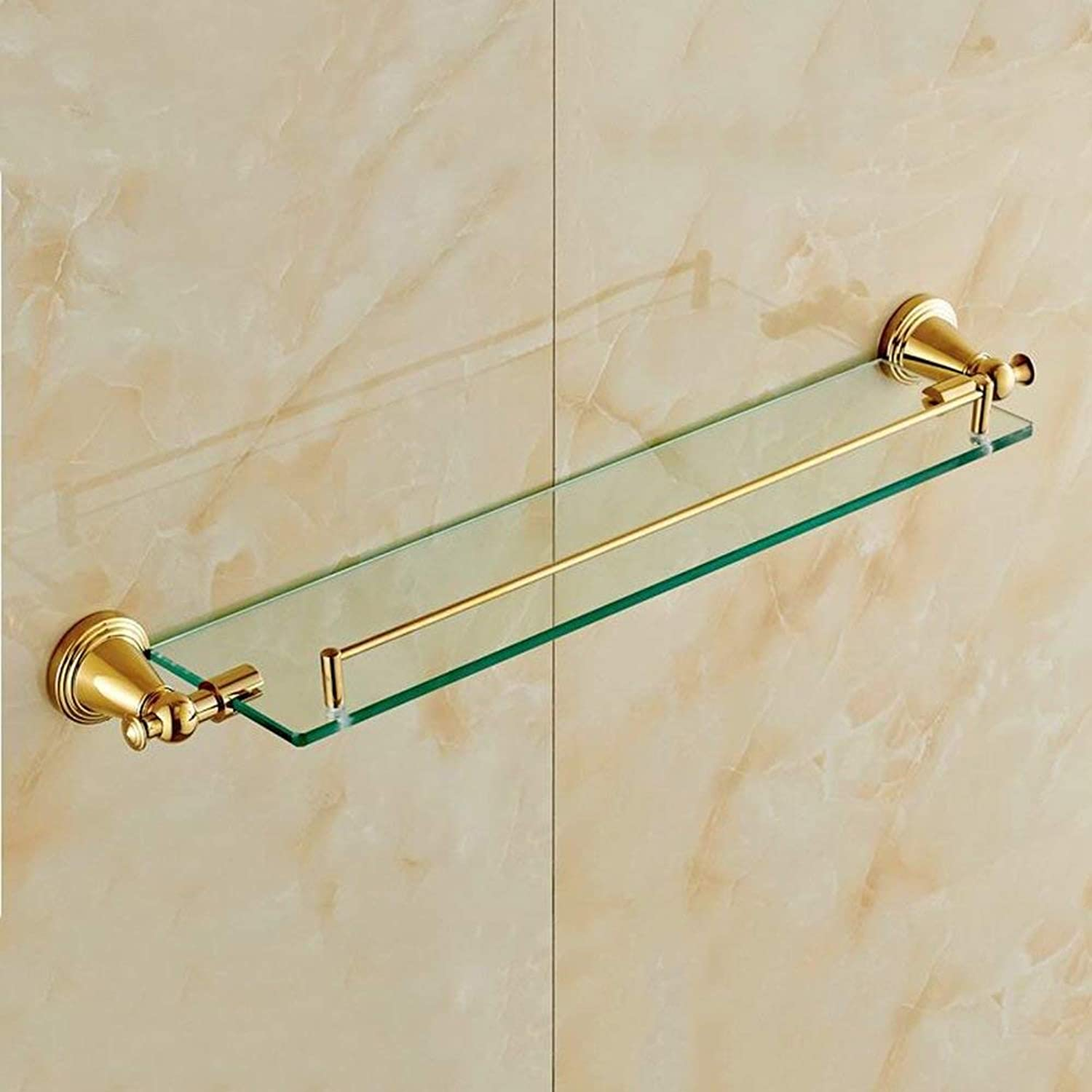 Shower Shelf Copper+Glass Material 8mm Tempered Glass Round Base PVD Vacuum Plating golden Easy to Clean