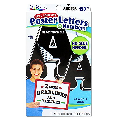 ArtSkills Paper Poster Letters and Number Stickers for Projects and Crafts, 4' and 2.5', Black, 150 Pieces