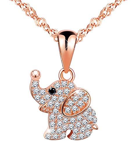 Infinito U Collares Plata 925 para Mujer Chica Niña Colgante Elefante Circonita Cadena con Colgante Color de Oro Rosa Idea Regalo Navidad