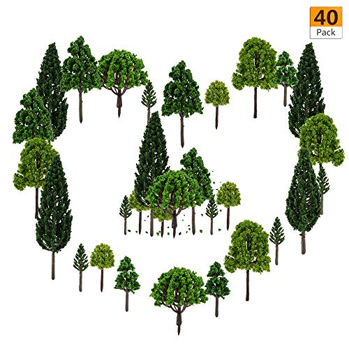 peony man 40 Pieces Model Trees -1.57 - 5.90 inch Mixed Model Tree Train Trees Architecture Diorama Ho Scale Model Trees for DIY Crafts or Building Model (Natural Green)