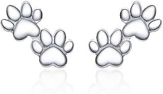 Sterling Silver Stud Earrings for Girls Hypoallergenic Animal Footprint Cute Earrings Christmas Teen Girl Gifts